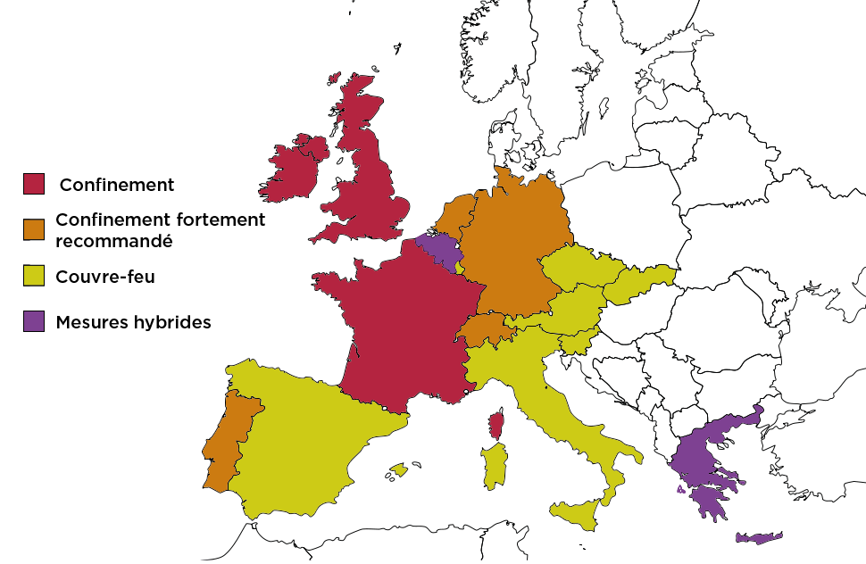 carte confinement Europe novembre 2020